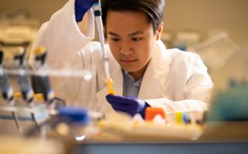 Research assistant conduction research for age-related macular degeneration