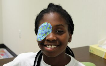 Pediatric patient with eye patch